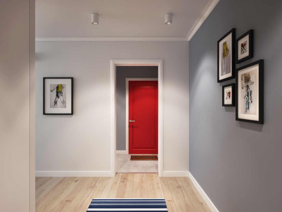 Red entrance door adds color to the sleek and relaxing Scandinavian interior