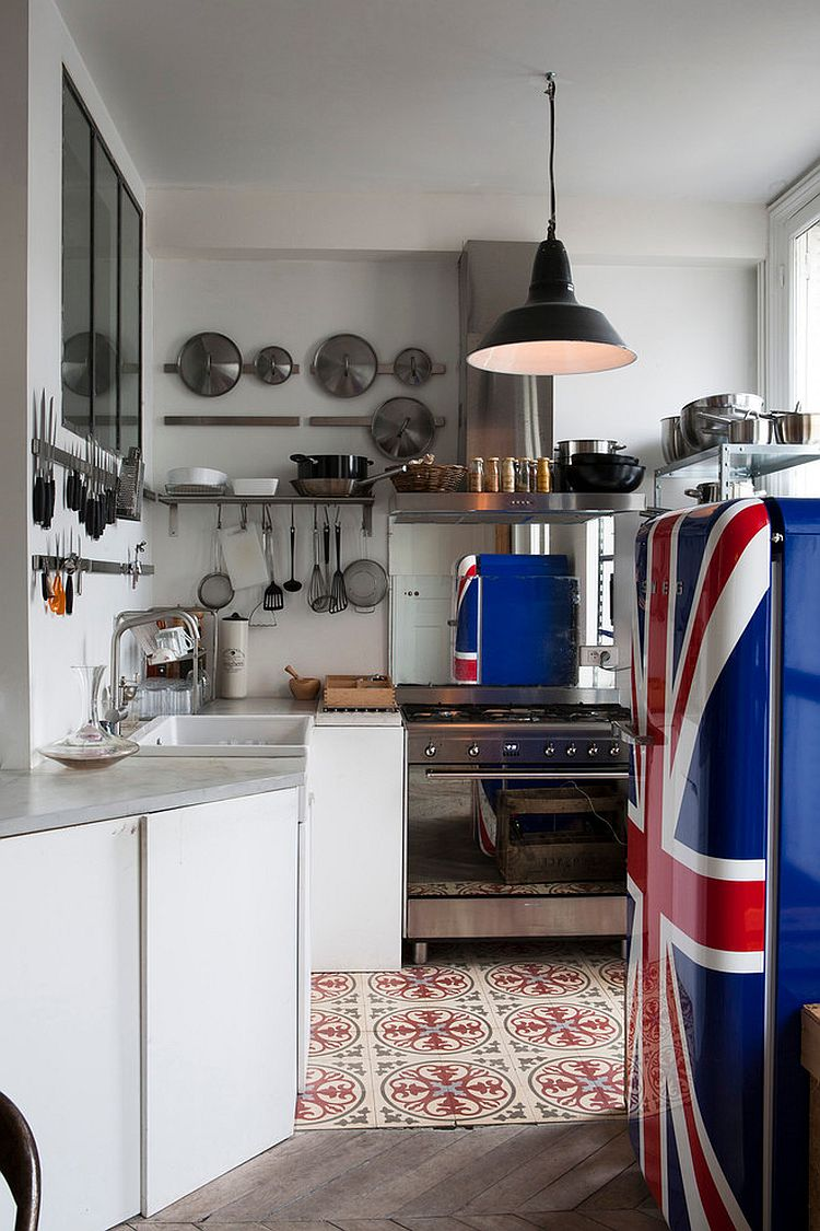 Refrigerator with painted Union Jack is the showstopper in this kitchen