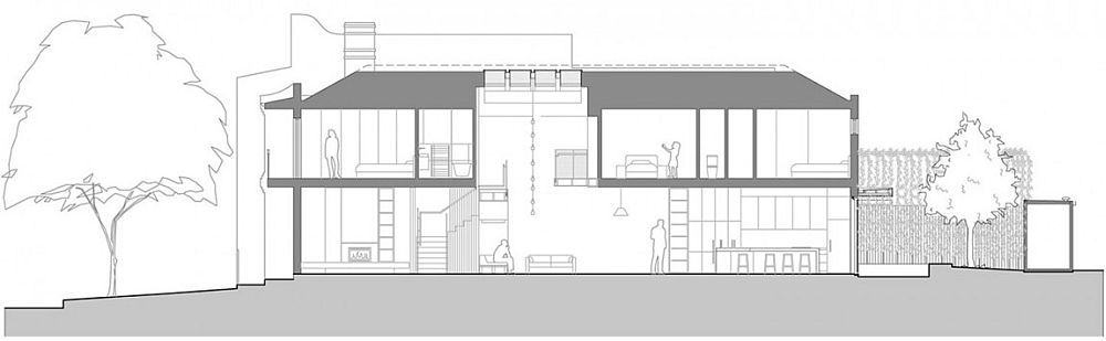 Refurbished double storey terrace house in South Melbourne - Sectional View