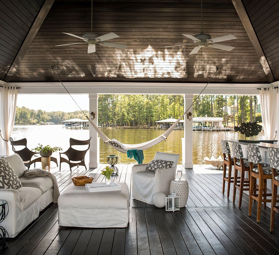 Relaxing lakeside retreat complete with outdoor lounge and dining [Design: Heather Garrett Design]