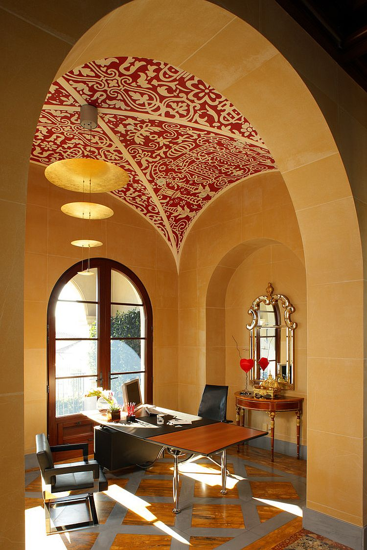 Rice paper wall covering and handmade stencil ceiling for the unique home office [Design: Sinclair Associates Architects]