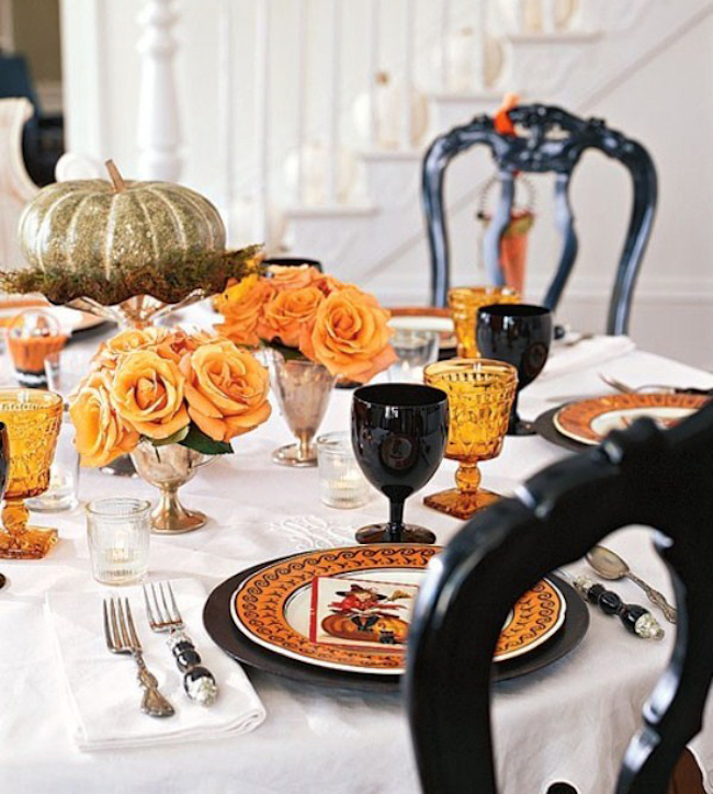 View In Gallery Romantic Halloween Table Setting With Orange Roses