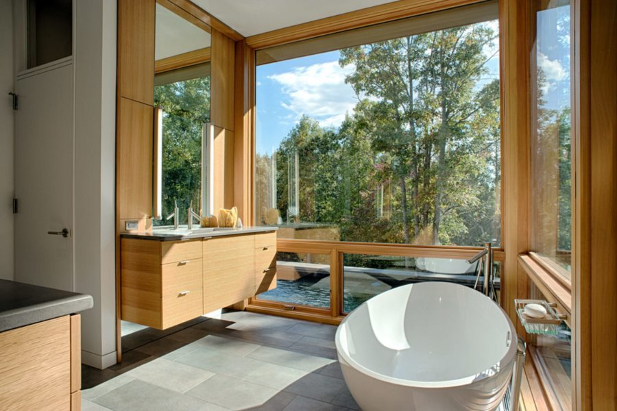 Round tub in a bathroom with a view