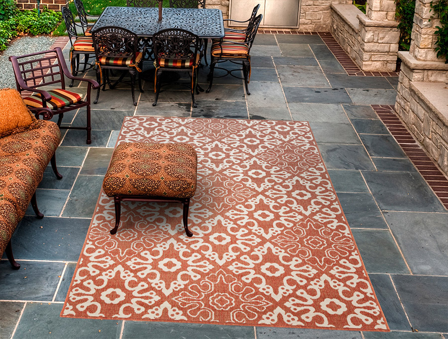 rust colored rug