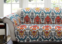 Rust and Turquoise Loveseat Cover