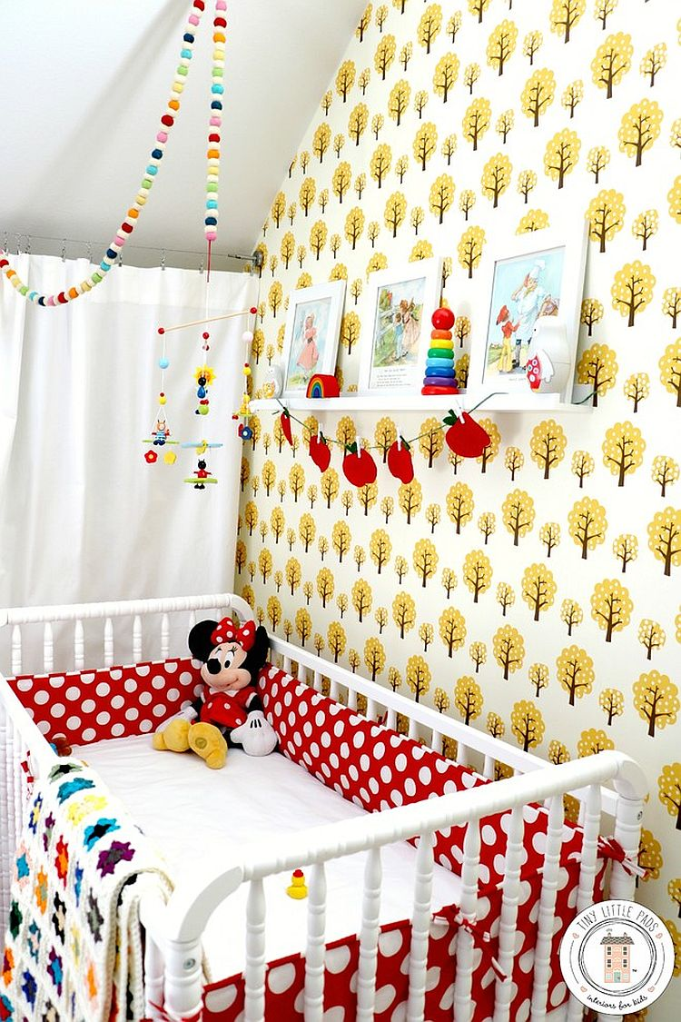 Scandinavian retro nursery with pops of yellow and red [Design: Tiny Little Pads]