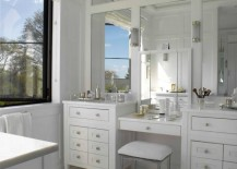 Separate makeup vanity area with upholstered stool  217x155 25 Bathroom Bench and Stool Ideas for Serene Seated Convenience