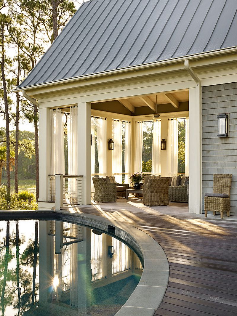 Serene outdoor living space on a sheltered deck [Design: Beth Webb Interiors]