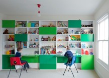 Shelves and workstation in kids' room with multiplle shades of green