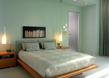 Sherwin Williams Slow Green shapes the lovely modern minimal bedroom