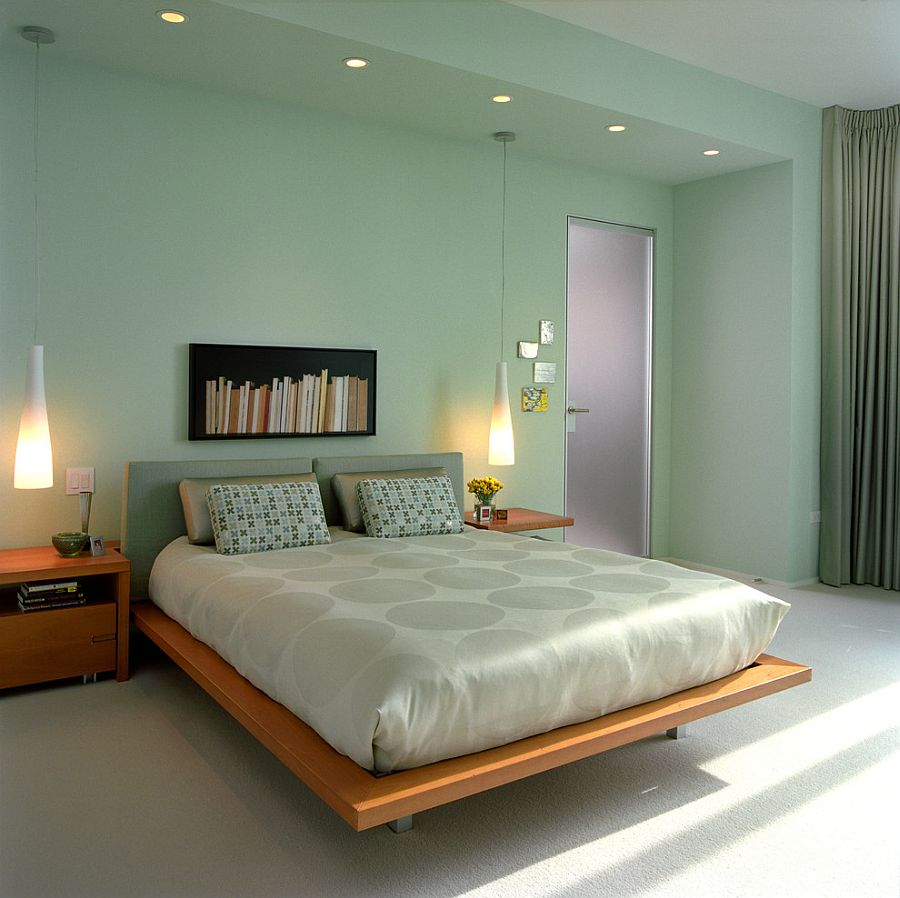 Sherwin Williams Slow Green shapes the lovely modern minimal bedroom [Design: Michael Richman Interiors]