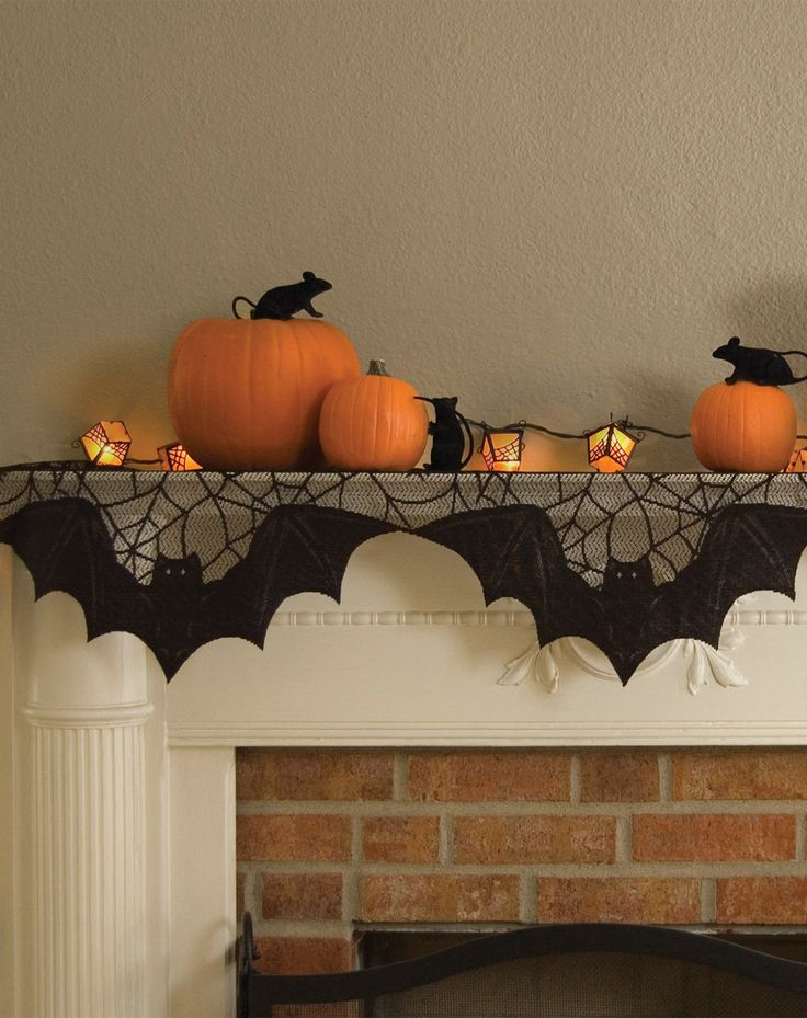 view in gallery simple orange and black halloween decor for a fireplace mantel - Halloween Fireplace