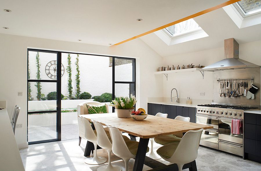 Skylights for the modern eclectic kitchen in white and gray [Design: Turner Pocock]