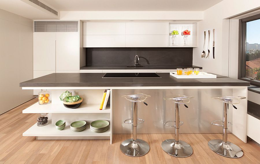 Sleek kitchen island is perfect for classy contemporary kitchen [Photography: Elad Gonen]