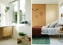 Sliding wooden doors for the shelves in the kids' bedroom