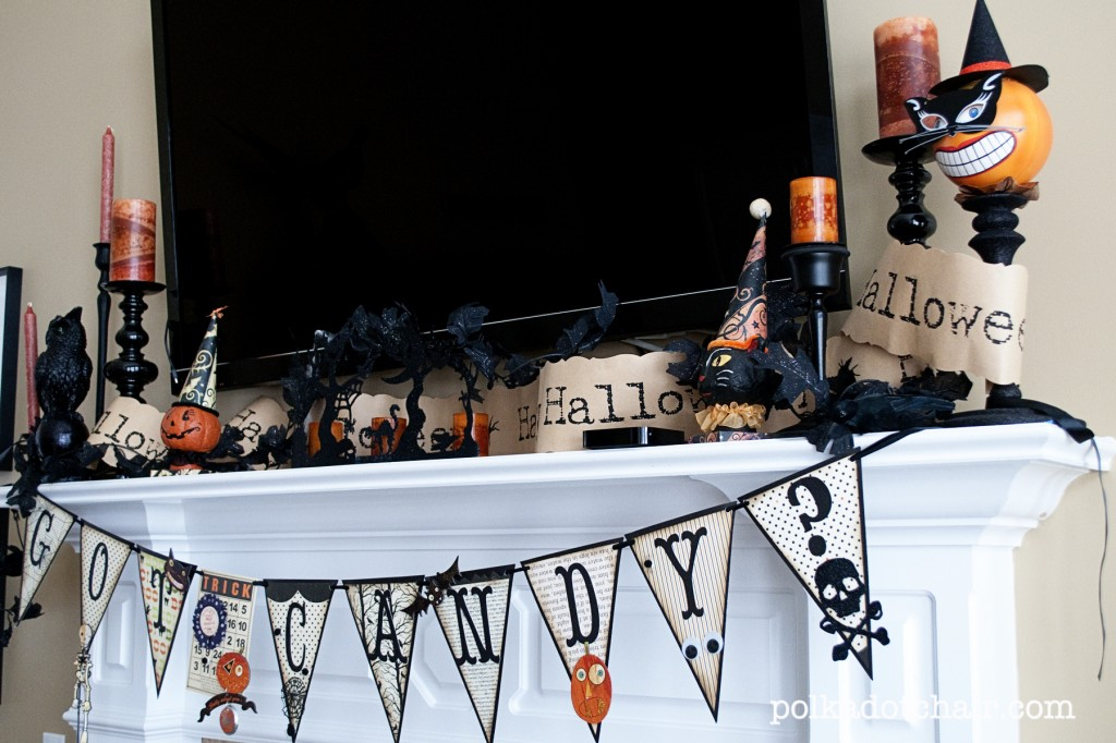 view in gallery small halloween decorations on a mantel with a tv - Halloween Mantel Decor