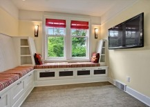 Small TV room with custom built-in banquette and storage