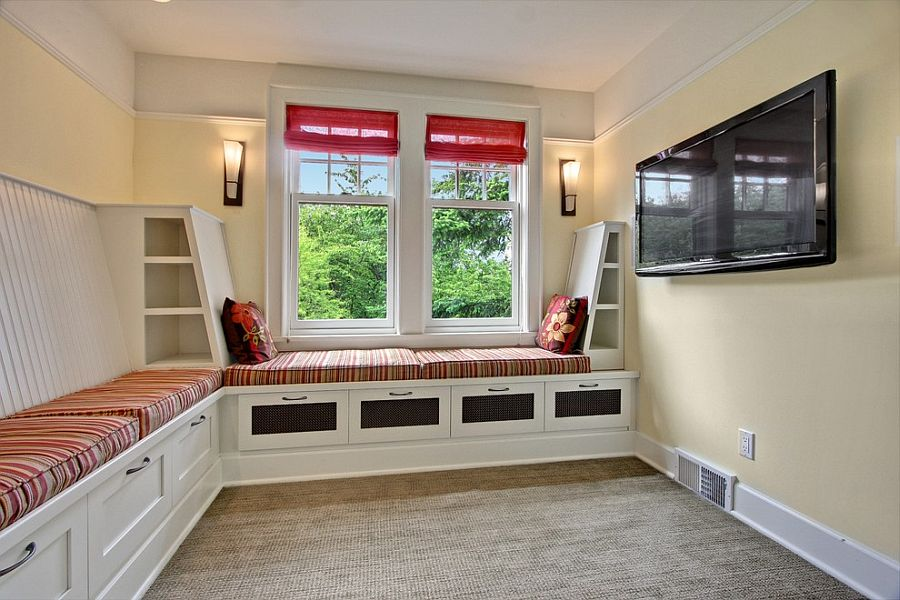 View In Gallery Small TV Room With Custom Built In Banquette And Storage [ Design: Sortun