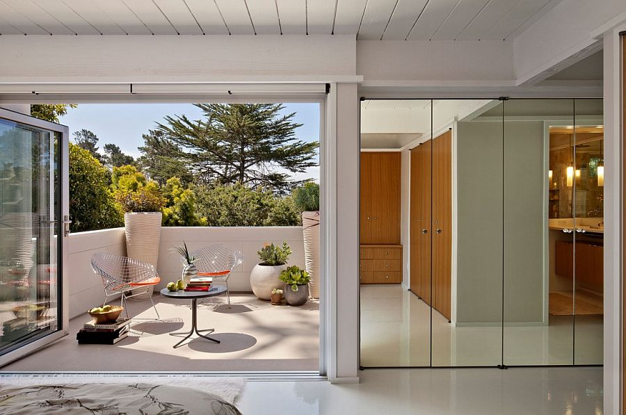 Mid century dwelling turned into first leed certified home in carmel - Eco friendly large glass windows offering effective energy savings for contemporary residence ...