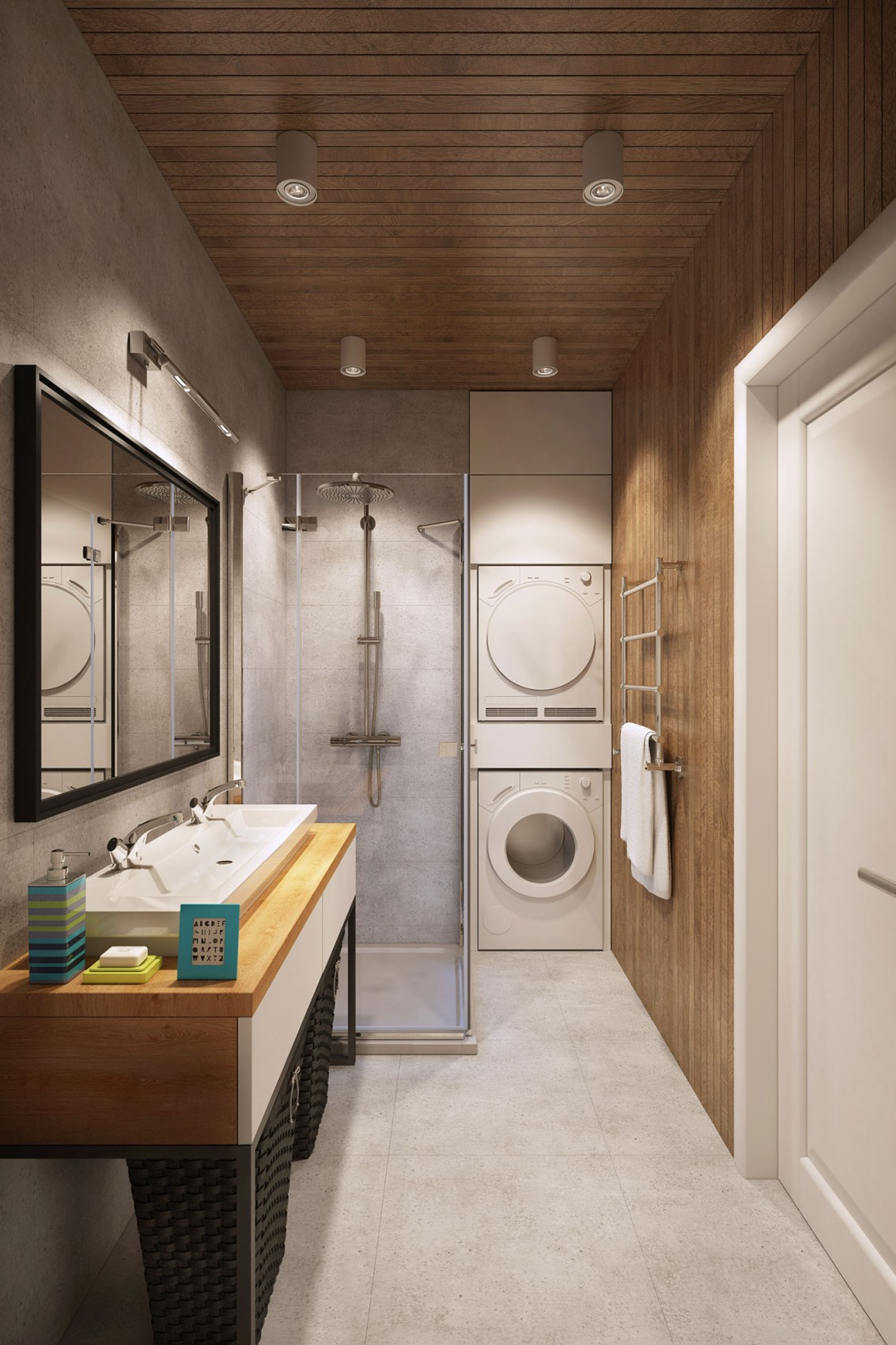 Going scandinavian in style space savvy apartment in moscow for Small japanese bathroom design