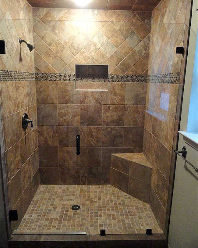 View in gallery Small corner bench in walk-in shower