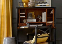 Small home office design in gray and yellow