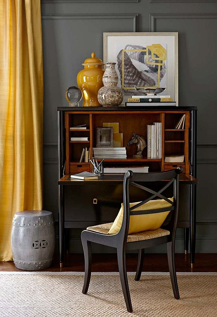 Small home office design in gray and yellow [Design: Williams-Sonoma Home]