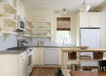 Small kitchen island with open shelves for the traditional kitchen in white