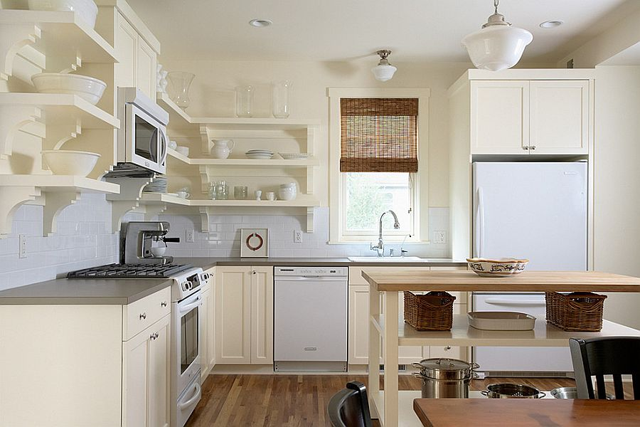 small kitchen island with open shelves for the traditional