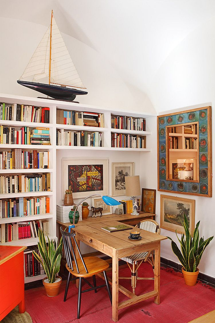 Smart shelving offers ample space for books and files in home office [Design: Casa Josephine]