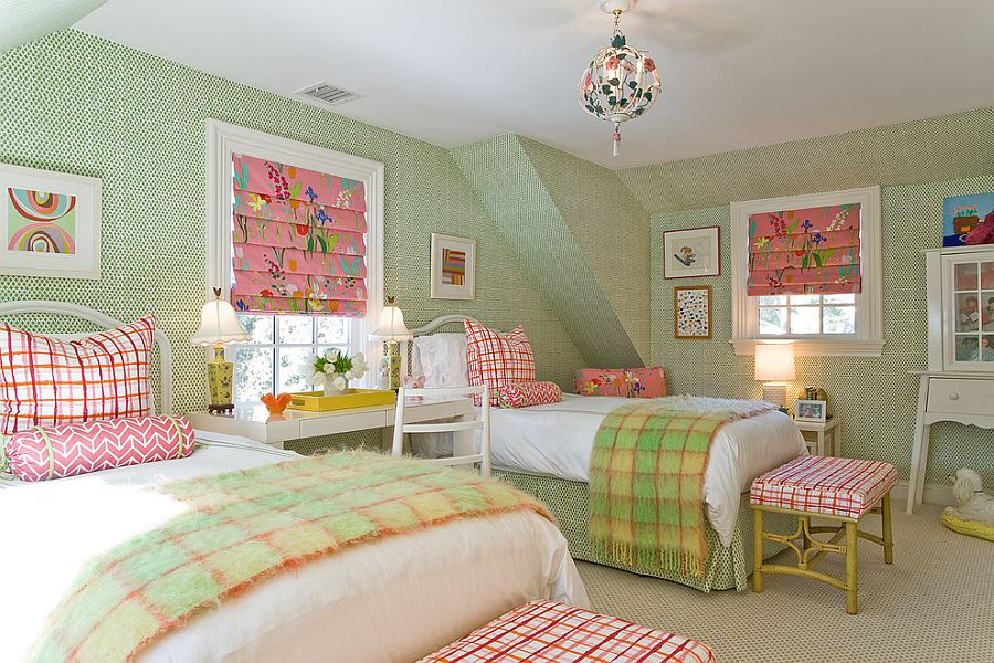 Snazzy teen bedroom with wallpaper on the walls and pops of pink [From: Michael J. Lee Photography]