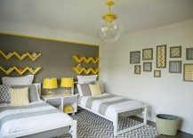 Snazzy zigzag shelves in yellow and bedside lamps standout here