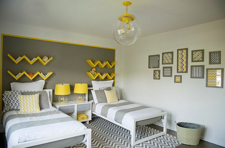 Snazzy zigzag shelves in yellow and bedside lamps standout here [Design: Susan Strauss Design]