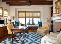 Merveilleux Splashes Of Yellow And Blue In The Elegant Home Office 217x155
