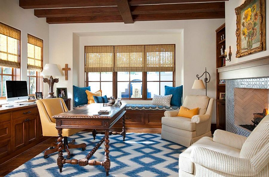 Splashes of yellow and blue in the elegant home office [Design: Astleford Interiors]