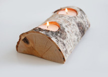 Split log with candl holders on the outer bark side 217x155 8 Easy DIY Wood Candle Holders for Some Rustic Warmth This Fall