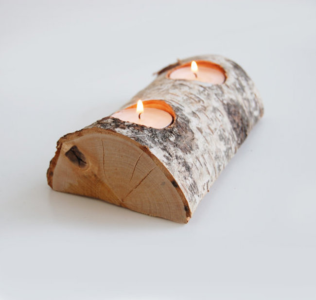 Split log with candle holders on the outer bark side