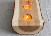 Split log with candles on the inside 217x155 8 Easy DIY Wood Candle Holders for Some Rustic Warmth This Fall