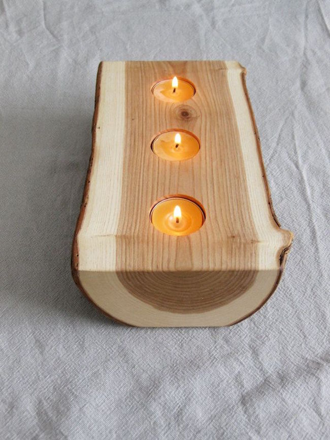 Split log with candles on the inside