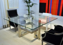 Square dining table with a sculptural base 217x155 20 Sleek Stainless Steel Dining Tables