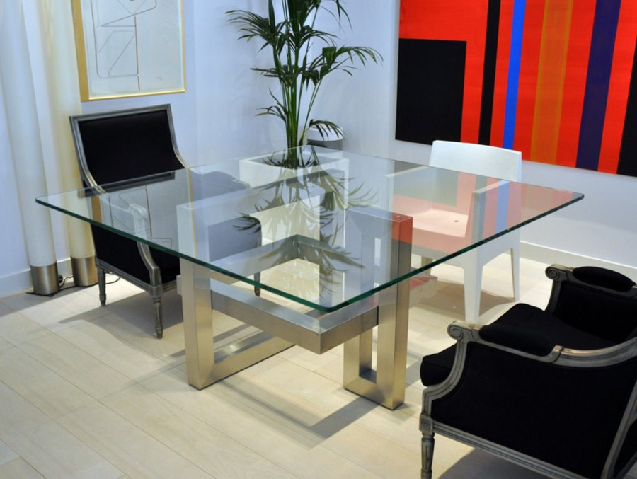 20 sleek stainless steel dining tables for Square dining table designs