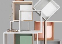 stacked modular shelving cube system