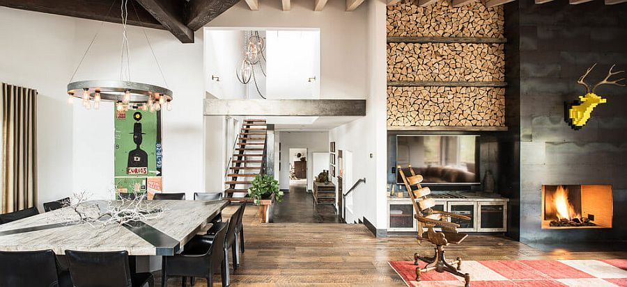 Stacked wood next to the fireplace becomes a stylish addition to the living space