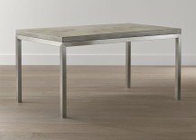 Stainless steel and concrete dining table