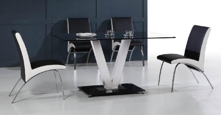 View In Gallery Stainless Steel And Glass Dining Table From DIYTrade