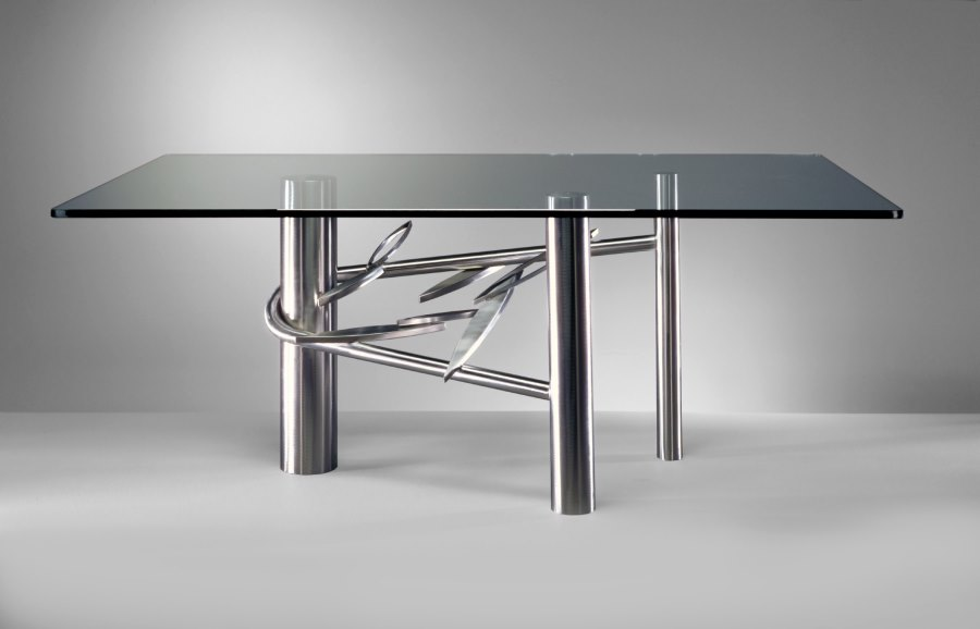 View In Gallery Stainless Steel And Glass Dining Table From Paul Freundt