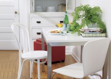 Stainless steel and wood table from Crate & Barrel