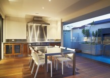 Stainless steel dining table in a modern kitchen