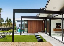 Steel frame adds to the sleek modern vibe of the home