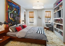 Stunning bedroom of New York home with a captivating work of art!
